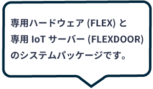 専用ハードウェア(FLEX)と専用IoTサーバー(FLEXDOOR)のシステムパッケージです。